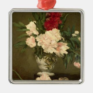 Ornement Carré Argenté Vase à Manet | de pivoines sur un petit piédestal,