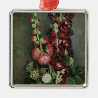 Ornement Carré Argenté Vase à Vincent van Gogh | de roses trémière, 1886