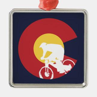 Ornement Carré Argenté Vélo de montagne le Colorado