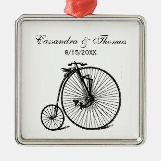 Ornement Carré Argenté Vélo vintage de bicyclette de vélo sur rail de