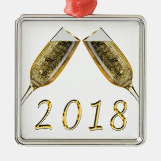 Ornement Carré Argenté Verres 2018 de Champagne