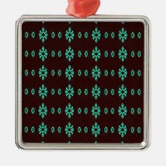Ornement Carré Argenté Vert au néon moderne sur le motif noir