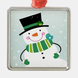 Ornement Carré Argenté Vert blanc de petit bonhomme de neige mignon