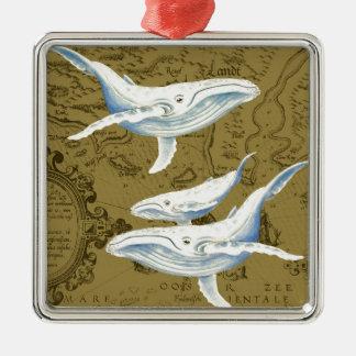 Ornement Carré Argenté Vert olive de famille de baleines bleues