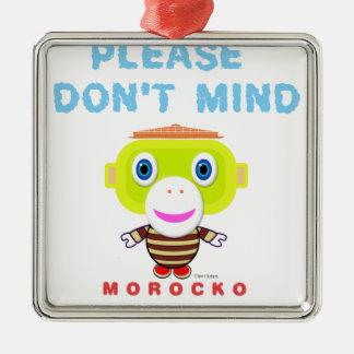 Ornement Carré Argenté Veuillez faire pas le Singe-Morocko Esprit-Mignon