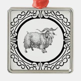 Ornement Carré Argenté vieil affichage de moutons