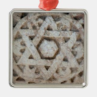 Ornement Carré Argenté Vieille étoile de David découpant, Israël