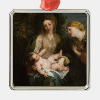Ornement Carré Argenté Vierge et enfant avec le saint Catherine de