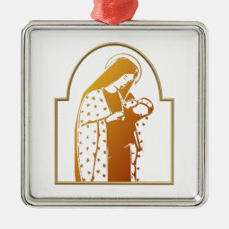 Ornement Carré Argenté Vierge Marie béni tenant le bébé Jésus