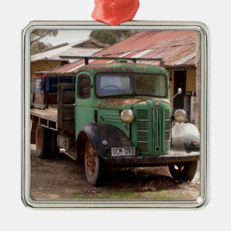 Ornement Carré Argenté Vieux camion vert