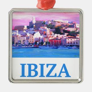 Ornement Carré Argenté Ville et port d'Ibiza de rétro affiche vieux