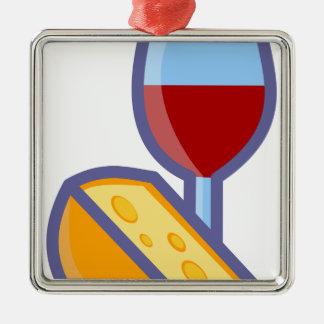 Ornement Carré Argenté Vin et fromage