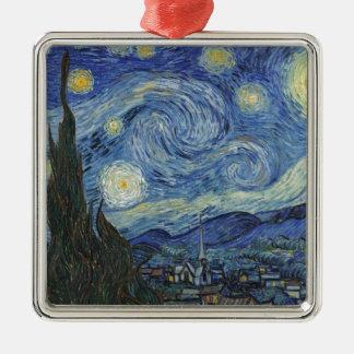 Ornement Carré Argenté Vincent van Gogh | la nuit étoilée, juin 1889