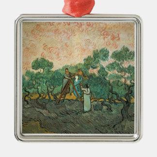 Ornement Carré Argenté Vincent van Gogh | les récolteuses olives,