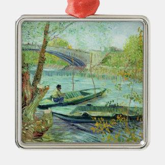 Ornement Carré Argenté Vincent van Gogh | pêchant au printemps