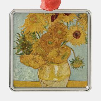Ornement Carré Argenté Vincent van Gogh - tournesols - bel art floral