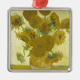 Ornement Carré Argenté Vincent van Gogh - tournesols - peinture classique