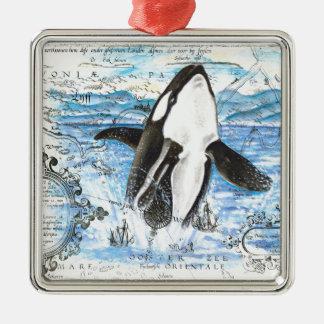 Ornement Carré Argenté Violation de la carte antique d'orque