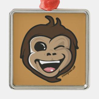 Ornement Carré Argenté Visage adorable de singe mignon de Chimpsee