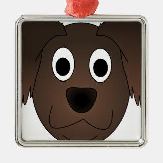Ornement Carré Argenté Visage canin de chien de Brown