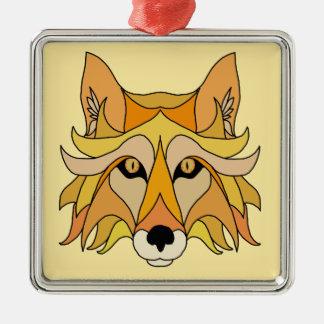 Ornement Carré Argenté Visage de Fox