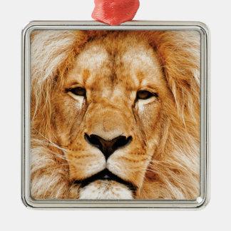 Ornement Carré Argenté visage de lion ouais