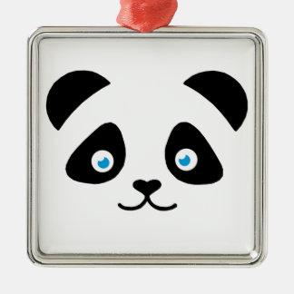 Ornement Carré Argenté visage d'ours panda