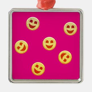 Ornement Carré Argenté visages heureux de biscuits