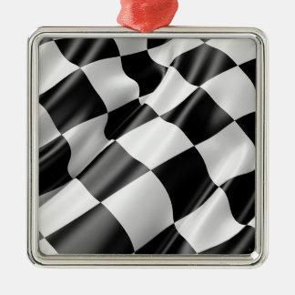 Ornement Carré Argenté Vitesse noire et blanche de finition de drapeau de