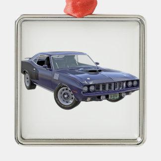 Ornement Carré Argenté Voiture 1971 de muscle de bleu marine