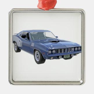 Ornement Carré Argenté Voiture de muscle de 1971 bleus