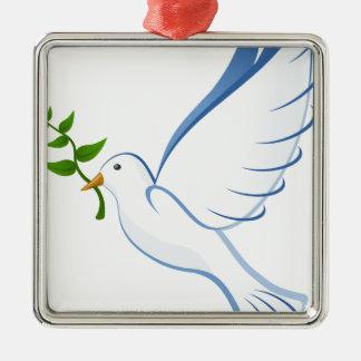 Ornement Carré Argenté Vol de colombe de blanc