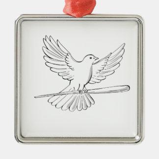 Ornement Carré Argenté Vol de pigeon ou de colombe avec le dessin de