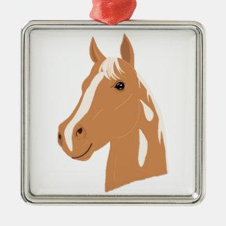 Ornement Carré Argenté Vol rouge le cheval heureux
