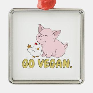 Ornement Carré Argenté Vont le végétalien - porc et poulet mignons