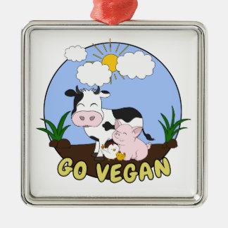 Ornement Carré Argenté Vont le végétalien - porc, vache et poulet mignons