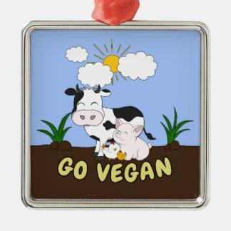 Ornement Carré Argenté Vont le végétalien - vache mignonne