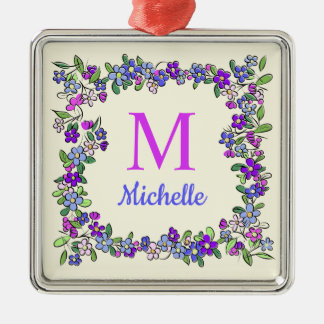 Ornement Carré Argenté Votre monogramme et nom dans le cadre de fleur