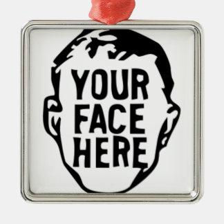 Ornement Carré Argenté votre-visage-ici
