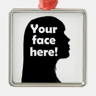 Ornement Carré Argenté votre-visage-ici-copie