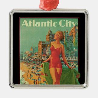 Ornement Carré Argenté Voyage vintage, blonde de plage de station de