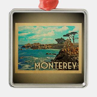 Ornement Carré Argenté Voyage vintage d'ornement de Monterey la