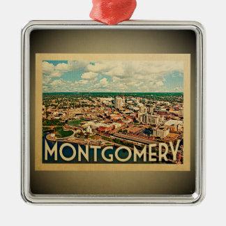 Ornement Carré Argenté Voyage vintage d'ornement de Montgomery Alabama