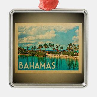 Ornement Carré Argenté Voyage vintage d'ornement des Caraïbes des Bahamas