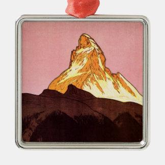Ornement Carré Argenté Voyage vintage, montagne de Matterhorn, Suisse