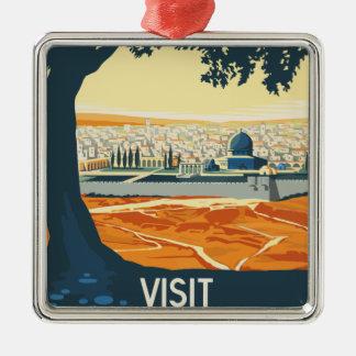 Ornement Carré Argenté Voyage vintage Palestine