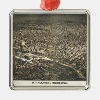 Ornement Carré Argenté Vue aérienne de Minneapolis, Minnesota (1885)
