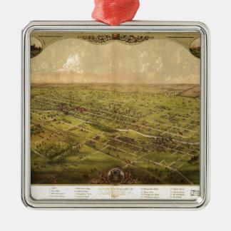 Ornement Carré Argenté Vue d'oeil d'oiseau de Lansing, Michigan (1866)