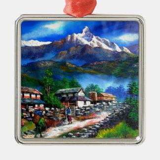 Ornement Carré Argenté Vue panoramique de montagne Népal d'Everest