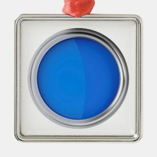 Ornement Carré Argenté Vue supérieure de peinture bleue